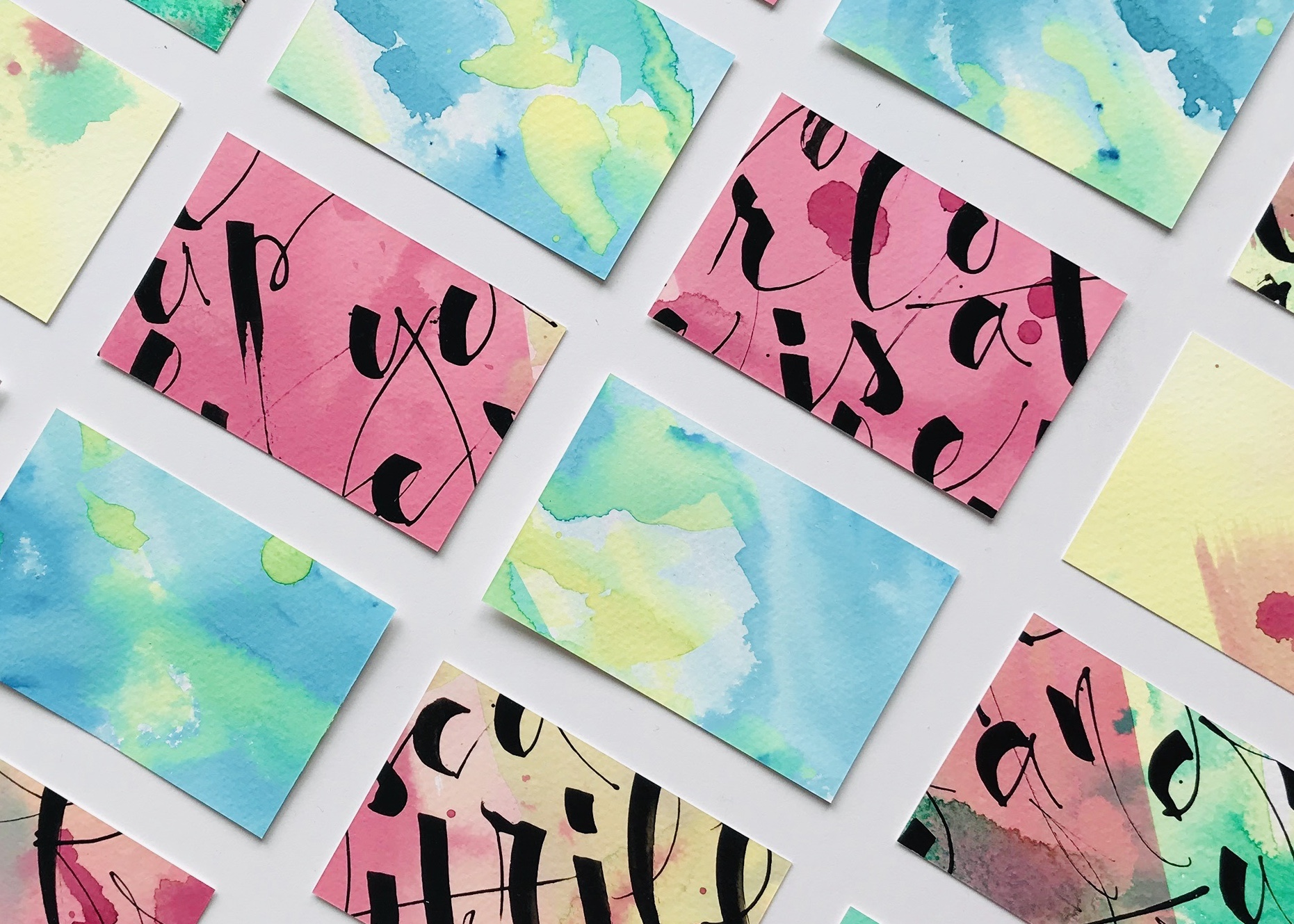 business cards with calligraphy and watercolors